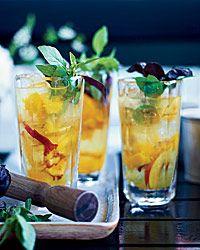 Tabernacle Crush: Gin, Lillet, Simple Syrup, Club Soda, Basil Leaves, Peaches, Lemon Juice