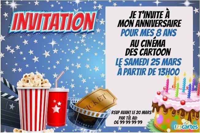 Invitation anniversaire tous au cinéma pour enfants. Personnalisable en ligne, vous pouvez modifier le texte comme bon vous semble et ensuite l'imprimer.