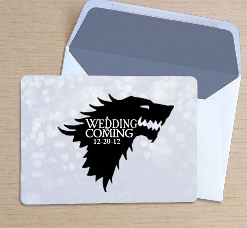game of thrones save the date  winter wedding tips: http://whengeekswed.com/blog/2012/11/28/winter-is-coming-tips-on-planning-a-winter-wedding/#more-9466