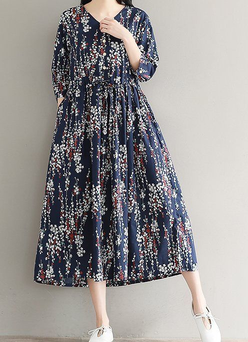Women loose fitting over plus size retro flower dress maxi tunic pregnant chic #Unbranded #dress #Casual