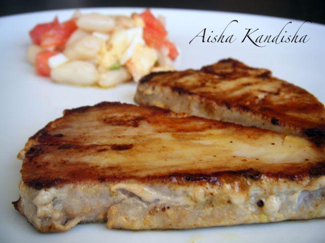 Receta Plato : Atún a la plancha al aroma de mostaza por Aisha Kandisha