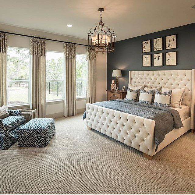 Neutrals with a subtle pop of color! From @partnersinbuild. #bedroom #chandelier #tuftedheadboard #tufted #headboard #homedecor #homedesign #interiordesign #realestate #dreamhome #inspo #decor #beautifulhomes #luxury #goals #follow #design (scheduled via http://www.tailwindapp.com?utm_source=pinterest&utm_medium=twpin&utm_content=post147187493&utm_campaign=scheduler_attribution)