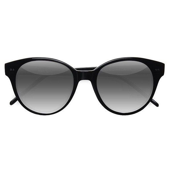 Women's Angie - Black round - 16949 Rx Sunglasses ($42) ❤ liked on Polyvore featuring accessories, eyewear, sunglasses, rounded cat eye sunglasses, retro cat eye glasses, rounded sunglasses, cat eye glasses and retro round sunglasses