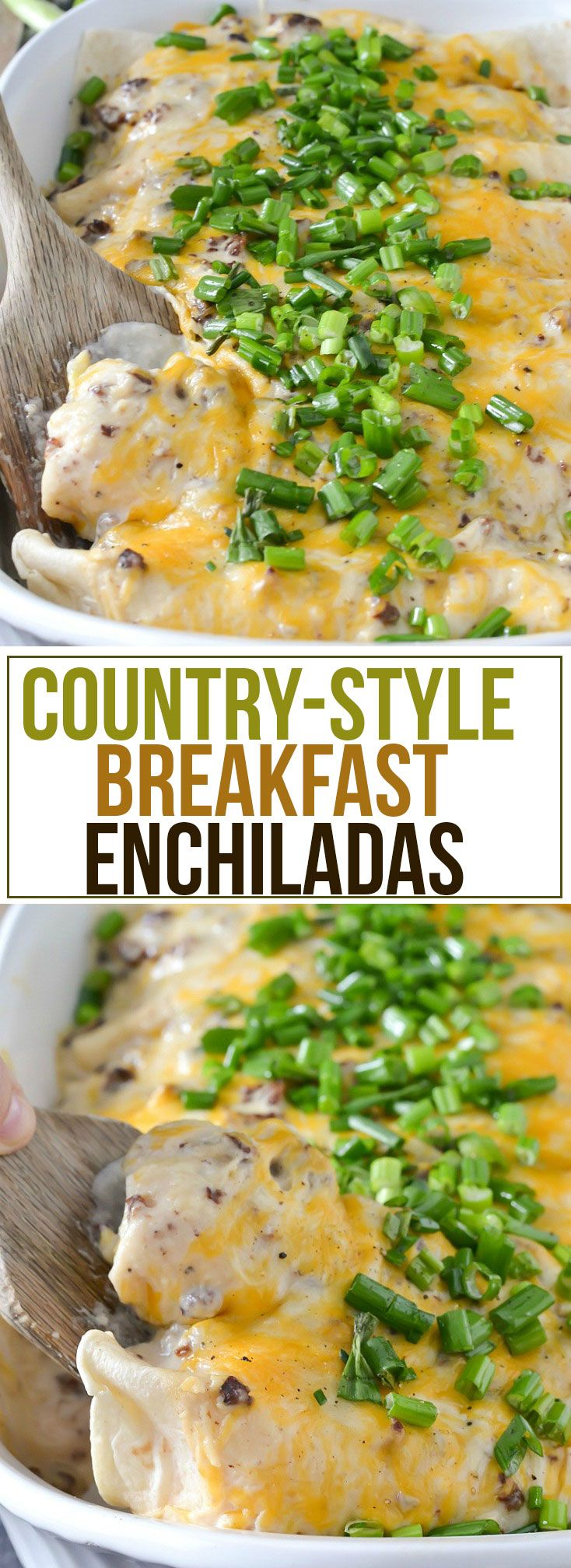 These Country-Style Breakfast Enchiladas are loaded with eggs, onions, peppers, cheese, crispy hash browns and smothered in a creamy sausage gravy sauce!