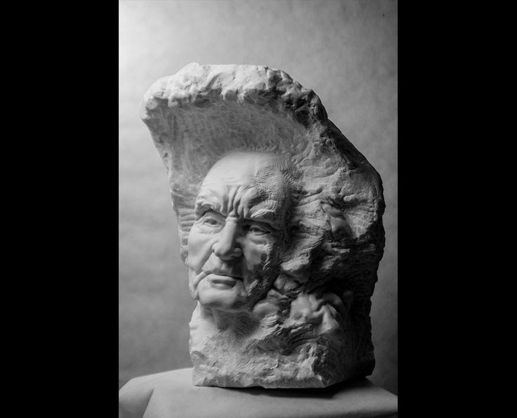 Michal Jackowski, PASSING. 44 x 53 x 65 cm, Carrara white marble, 2016  #sculptures #humans #antique #pinart #creative #passion #love #art #classic #face
