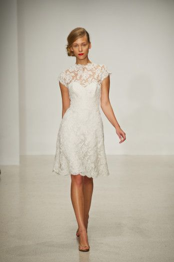 Chloe by Amsale - Lace dress with illusion neckline