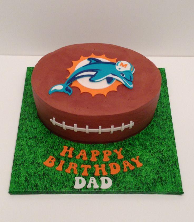 Miami Dolphins football cake. Mocha Swiss meringue buttercream with fondant details.