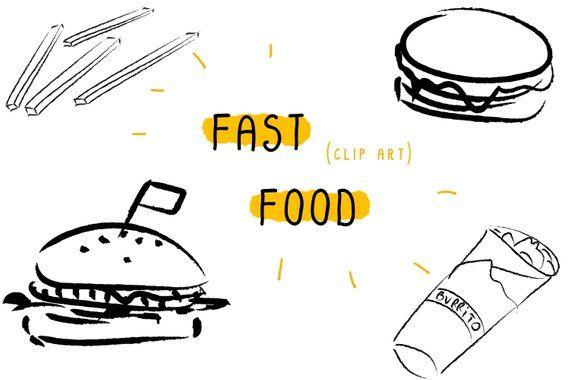 Fast Food Clipart Burger Pizza Art Digital Printable Illustration Eat Bundle Set Image Black Wh Clip Art Food Clipart Pizza Art