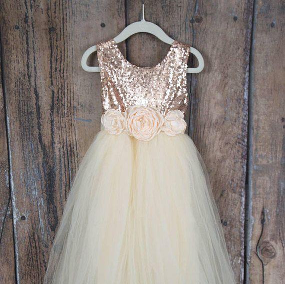 Cream Flower Girl Dress Rose Gold Sequin Top Floor Length