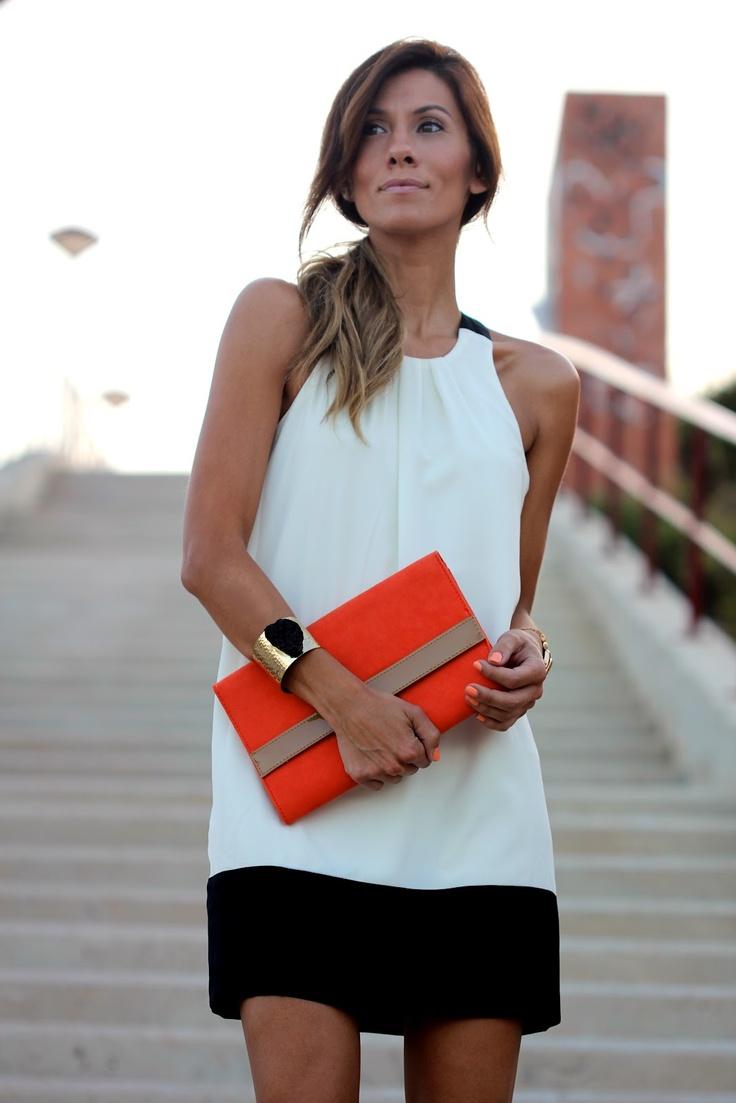 colour blocks: Fashion, Style, Black And White, Colorblock, Outfit, Dresses, Sheath Dress, Black White Dress
