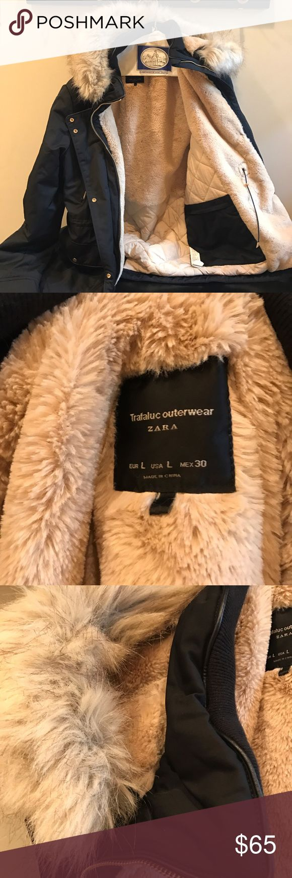 ZARA winter jacket Zara outerwear. Tan fur interior, very warm! Fur is detachable from hood. Zara Jackets & Coats