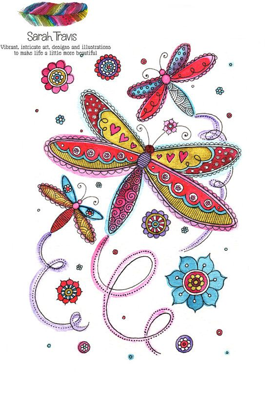 Dancing Dragonflies Doodle Print by SarahTravisArt on Etsy, £6.75