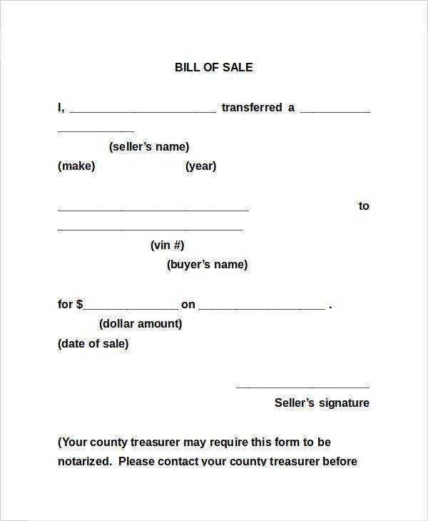 General Bill Of Sale Template Bill Of Sale Template Bills Sample Resume