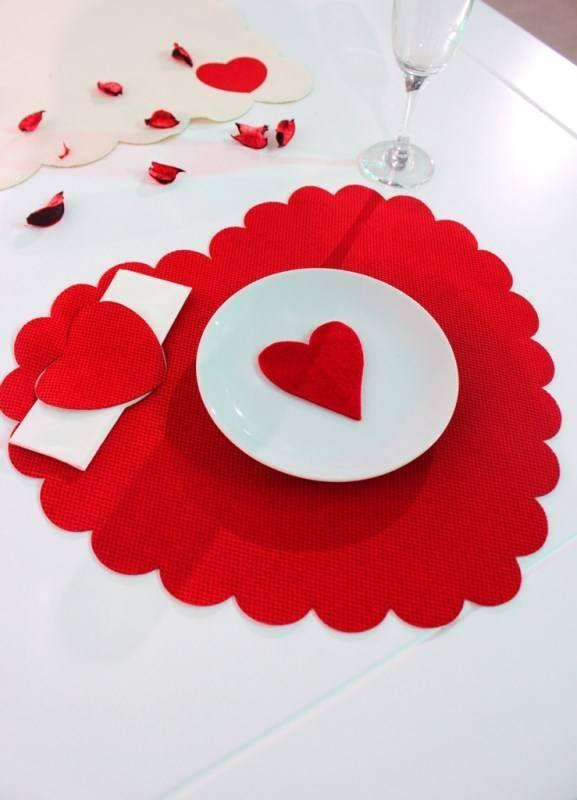 Sevgililer Günü Özel Kırmızı Kalp Amerikan Servis | Amerikan Servisler | Sonsuz Dekorasyon