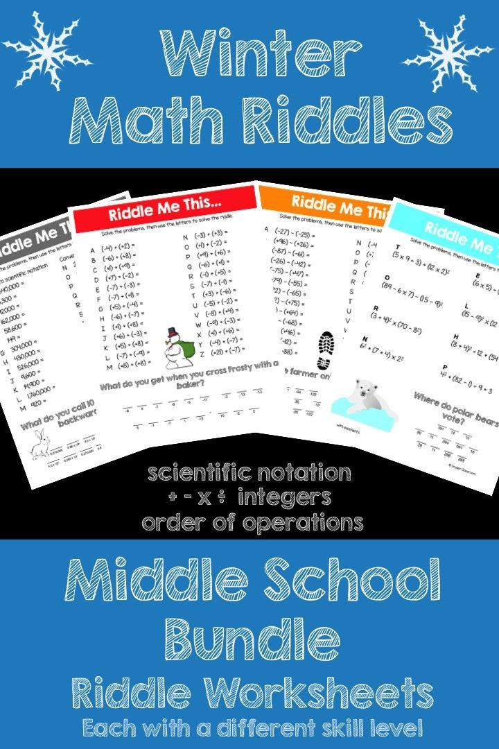 Make math FUN this Winter! NO PREP! This packet now has 19 worksheets! This activity is full of computation practice. The students also have a goal of solving a riddle at the end. It is a great way to combine fun and learning! This Bundle includes all of my Winter themed riddles for integers, scientific notation, and order of operations. Save 33% when you buy this Bundle!!