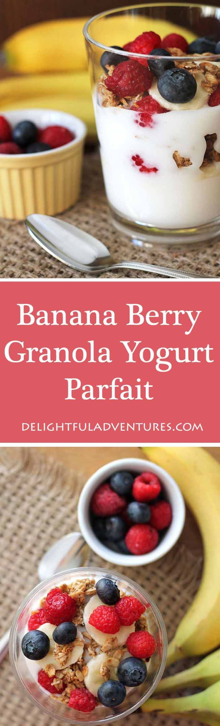 A Banana Berry Granola Yogurt Parfait is just what you need to start your day or to keep you going when you're looking for a healthy afternoon snack. #parfait #yogurtparfait #veganbreakfast #breakfastideas #berryparfait via @delighfuladv