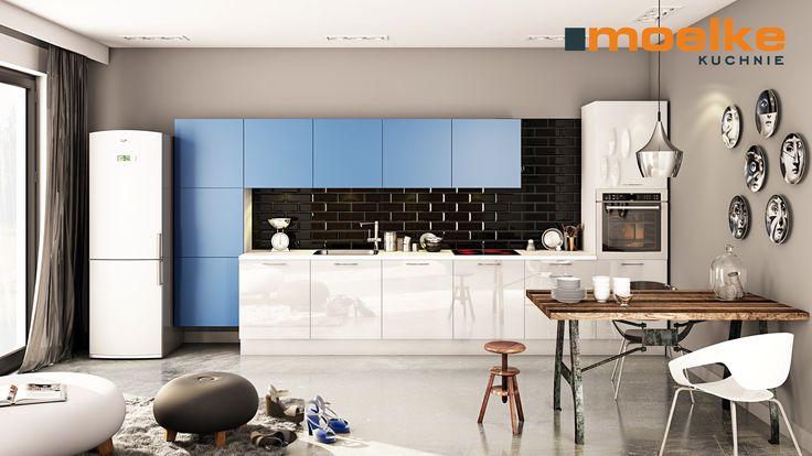 MOELKE RIFFLESSO BIAŁY, MOELKEPUTNO NIEBIESKI PASTELOWY: Nowoczesny, funkcjonalny aneks kuchenny w rozsądnym budżecie. Uporządkowany układ oparty na powtarzalnym module 60 cm. Biel w połysku połączona z niebieskim pastelowym wykończonym w macie. Niebieski daje spokój i ukojenie, przedstawia harmonię, przestronność oraz ułatwia relaks. Pomieszczenia w których użyto niebieskiego i bieli odbieramy jako są świeże, czyste, uporządkowane. Kojarzą się ze spokojem i wyciszeniem.