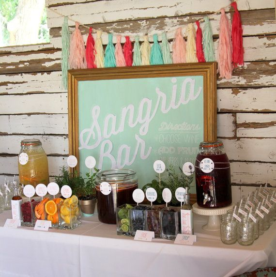 sangria bar wedding or party drink station by shinyhappysprinkles