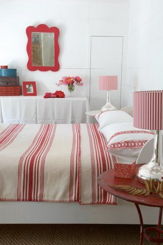 Red & White striped bedroom