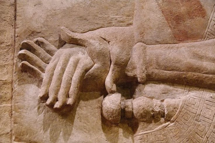 From khorsabad ancient mesopotamia detail of hands