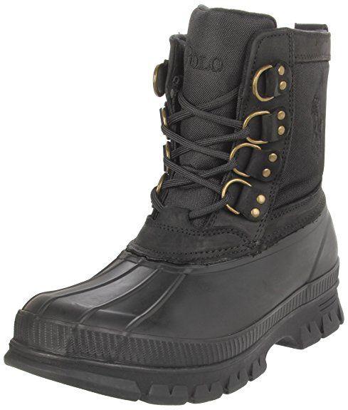 Polo Ralph Lauren Men's Crestwick Lace-Up Waterproof Boot,Black/Black,11 D US