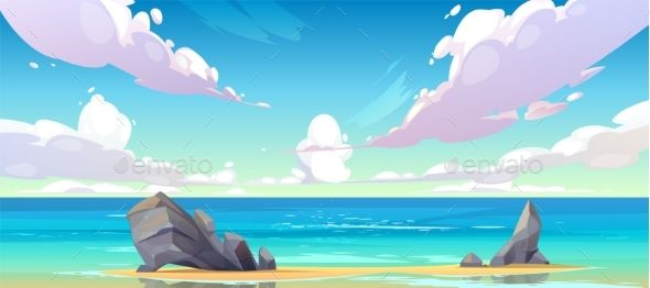Ocean Or Sea Beach Nature Tranquil Landscape In 2020 Cloud Illustration Ocean Backgrounds Anime Background