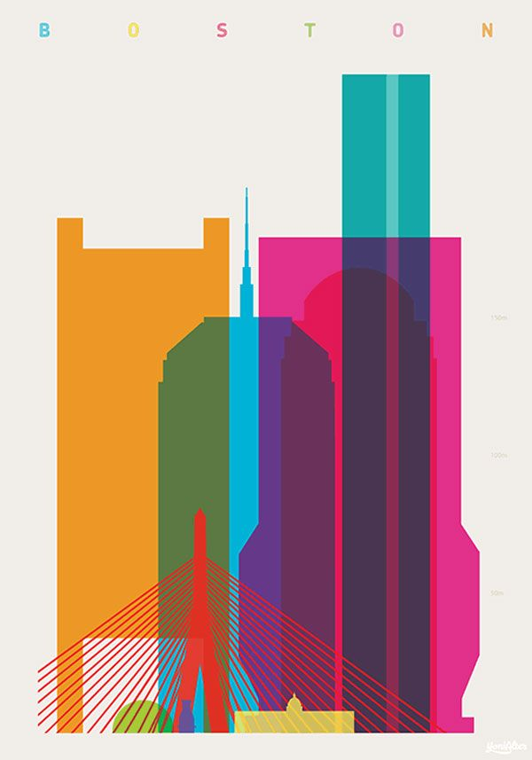Boston - Shapes of Cities - Screenprint by Yoni Alter