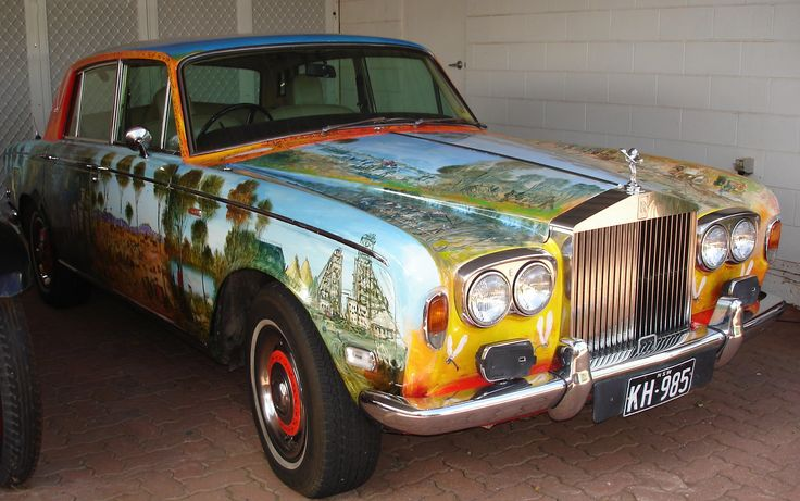 Famous local Broken Hill artist Pro Hart's artwork on one of his Rolls Royce's. #BrokenHill