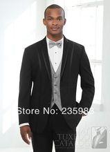 Homens personalizado terno do casamento do noivo de smoking do noivo preto dos homens ternos de lã grátis frete para 2014 ternos de três peças(China (Mainland))