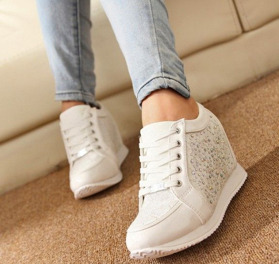 women Shoes Hidden Heels Wedge shoes Fashion Women's  causal Women  Rhinestone Shoes 5A103