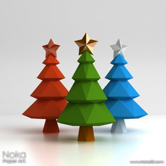 Christmas Tree 3d Papercraft Model Downloadable Diy Etsy Paper Crafts Christmas Fayre Ideas Handmade Christmas Gifts