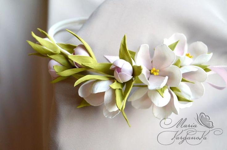 фоамиран, мастер-класс по фоамирану, венок из фома, ободок из фома, цветы из фоамирана, ревелюр, веточка яблони