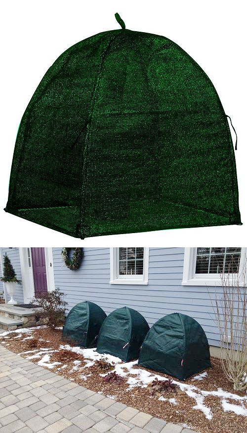 This winter shrub cover protects against heavy snow and ice and stores flat for multiple seasons of use. The cover permits sunlight, air and moisture to circulate to your plant. Secures with 4 heavy-duty corner stakes (included) to keep the cover in place for the entire winter.