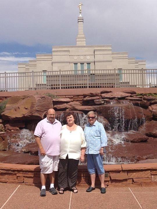 James William Gorton, Stephanie Kaye Gorton, Marlene Cooley Gorton in front of the Snowflake AZ LDS Temple.