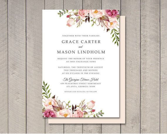floral wedding invitation printable diy by vintage sweet