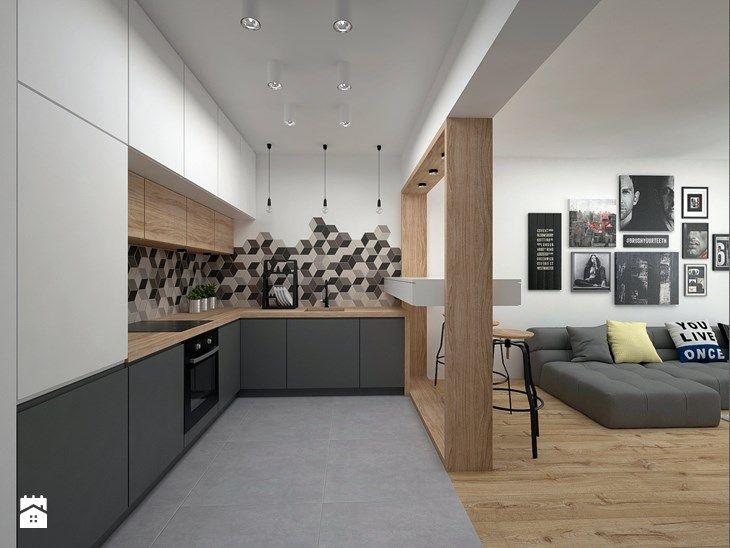 Mieszkanie - 40 m2 - Średnia otwarta kuchnia w kształcie litery l w aneksie, styl skandynawski - zdjęcie od BIG IDEA studio projektowe