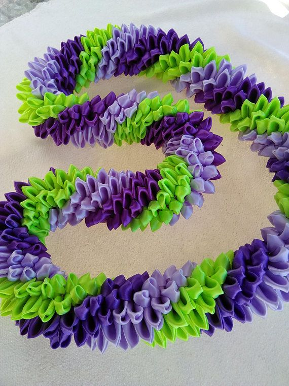 Purple orchid hawaiian ribbon lei