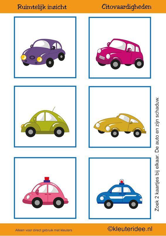 Citovaardigheden voor kleuters, kleuteridee.nl ,meetkunde&ruimtelijk inzicht, de auto en zijn schaduw 1 , rekenen voor kleuters, free printable