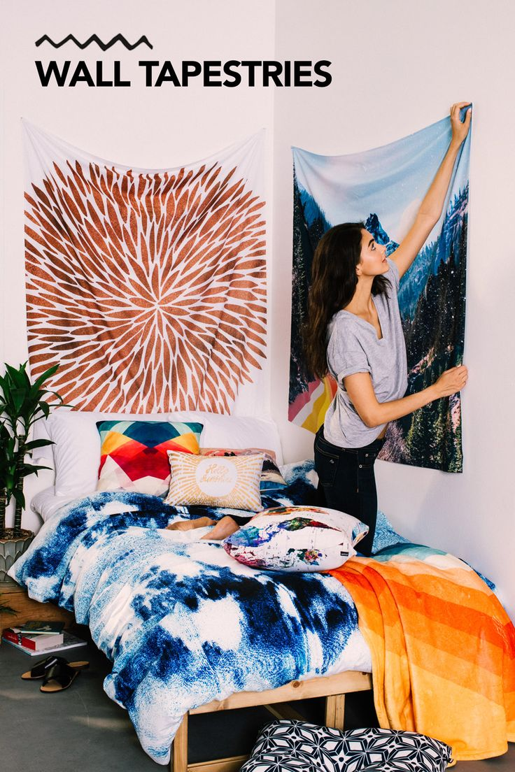 """Add some color to your walls with tapestries! We have TONS of designs to choose from, all designed by independent artists. Like the ones featured in this pin? Search for """"Rose Gold Burst"""" by Cat Coquillette or """"1960's Style Mountain Collage"""" by Justine Henderson."""