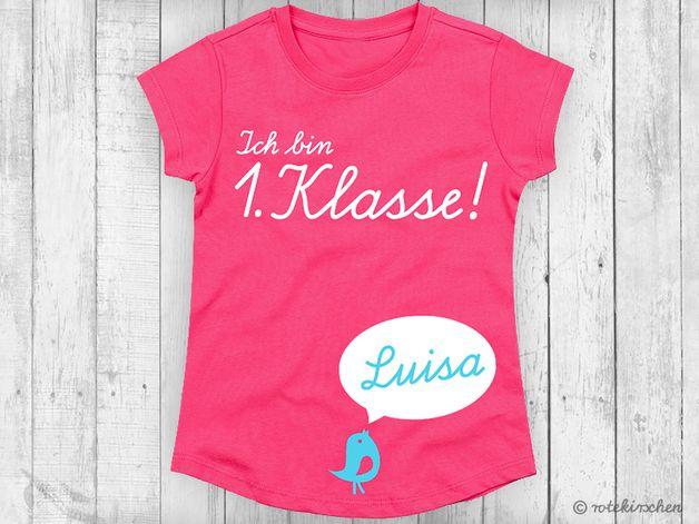 Kinderkleidung: T-Shirt zur Einschulung mit individuellem Namen / kids fashion: t-shirt for school enrollment with individual name made by rotekirschen via DaWanda.com
