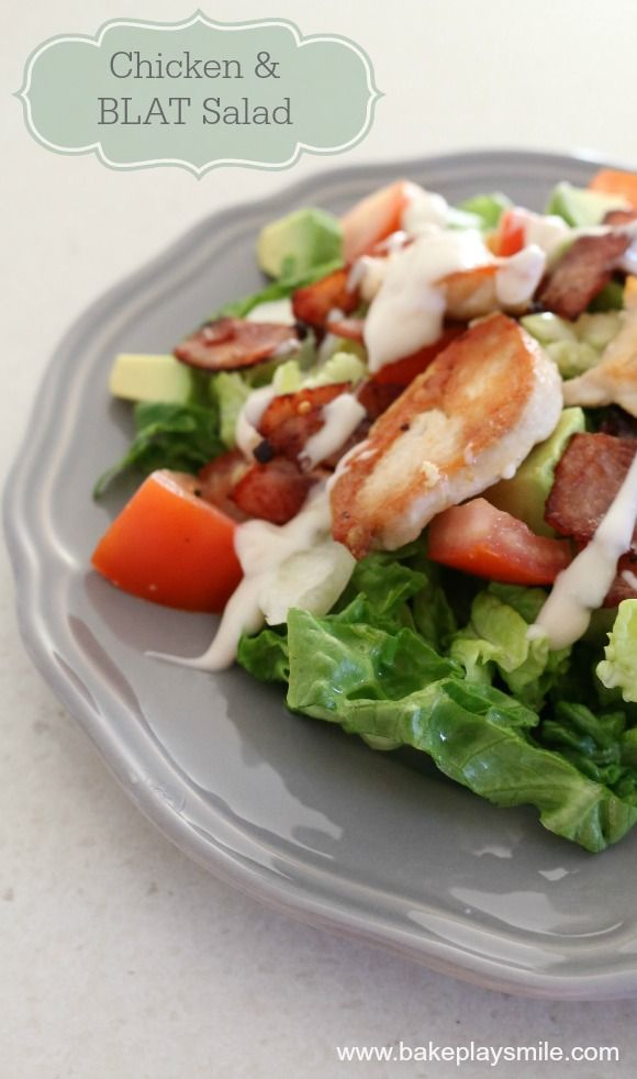 My favourite light dinner! Chicken and BLAT (Bacon, Lettuce, Avocado and Tomato) Salad... so good! #chicken #salad #recipes #BLAT #bakeplaysmile http://www.bakeplaysmile.com/chicken-blat-salad/