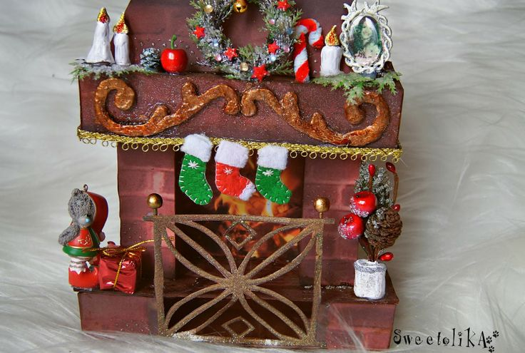 Christmas fireplace from paper