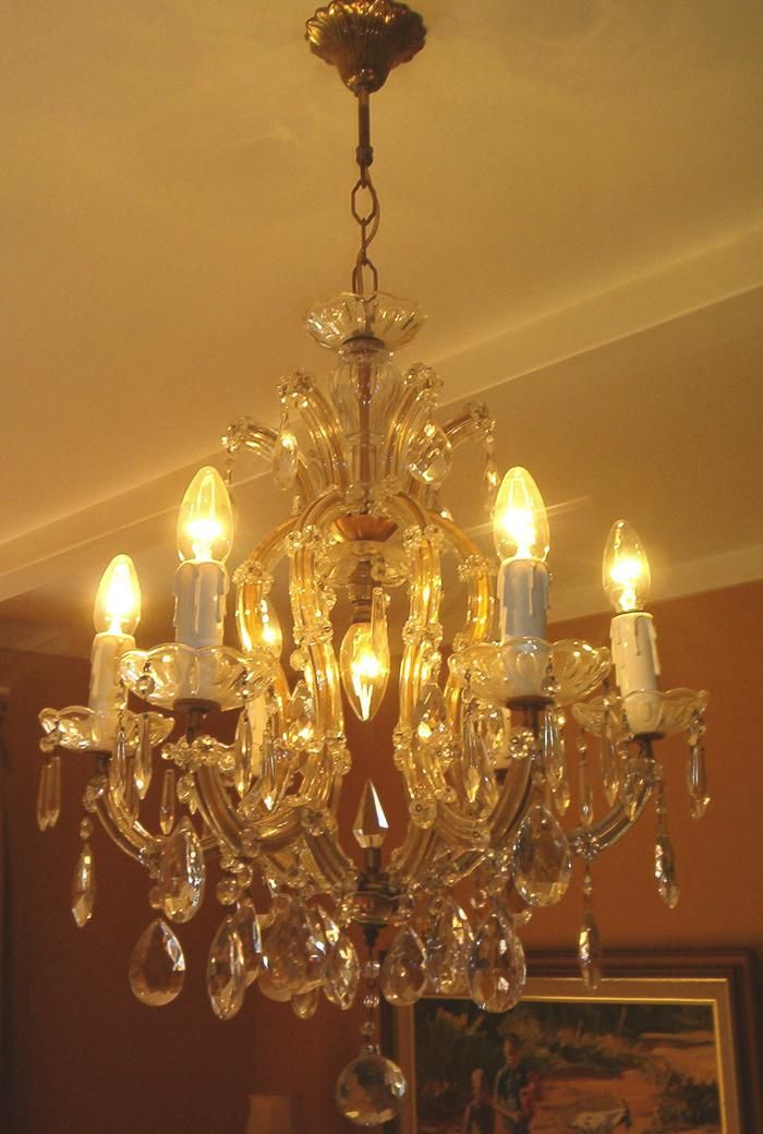 Antique 7-light Marie Therese crystal chandelier