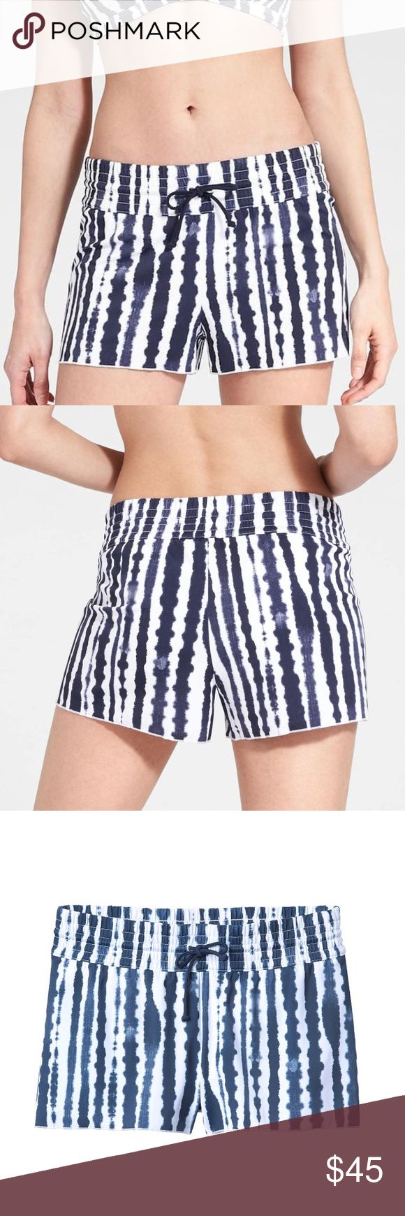 Athleta Wave Break swim short NWT Athleta Wave Break smocked swim short in white and navy stripes - pattern looks like a batik. Pair with a bikini top or tankini in white, red, Athleta's dress blue or even silver or gold and you're ready for warm weather vacations or summertime fun! Pull-on design with attached brief - great for sitting by the pool and then going to lunch or for exploring water/amusement parks where you want more coverage. Amazingly soft fabric, doesn't cling. Smoke- and…