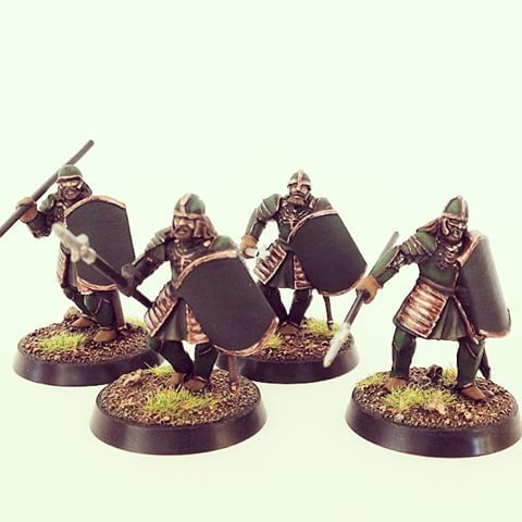 Warriors of Pinnath Gelin, loyal to Gondor. I converted Warriors of Gondor minis…