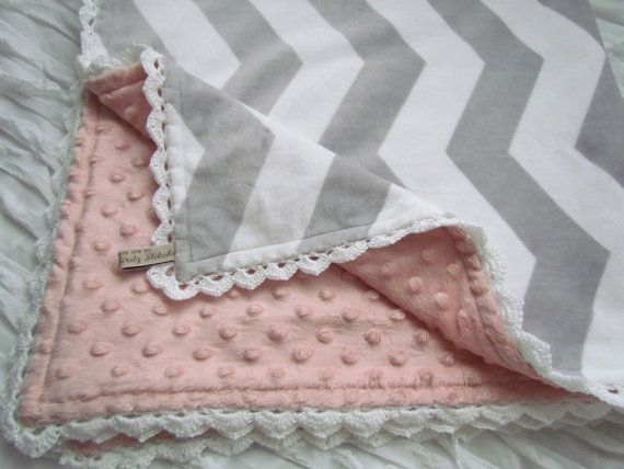 """Minky baby blanket - 30"""" X 36""""- in grey and white minky chevron with coral minky dots. Hand crochet trim. Made to order"""