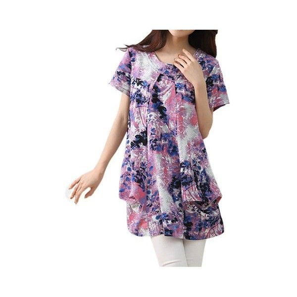 Casual Women Floral Pleats O-Neck Cotton Linen T-Shirt ($19) ❤ liked on Polyvore featuring tops, t-shirts, purple, women plus size tops, women's plus size tops, print t shirts, purple t shirt, floral t shirt and plus size tees