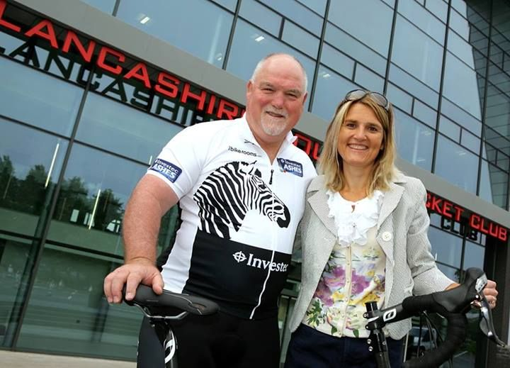 Marina with former England cricketer Mike Gatting.  Mike did a great job on the ‪#‎InvestecAshesCycle‬, especially with all the media interviews we had lined up with BBC, ITV and Sky channels at Durham, Manchester, Notts and London.