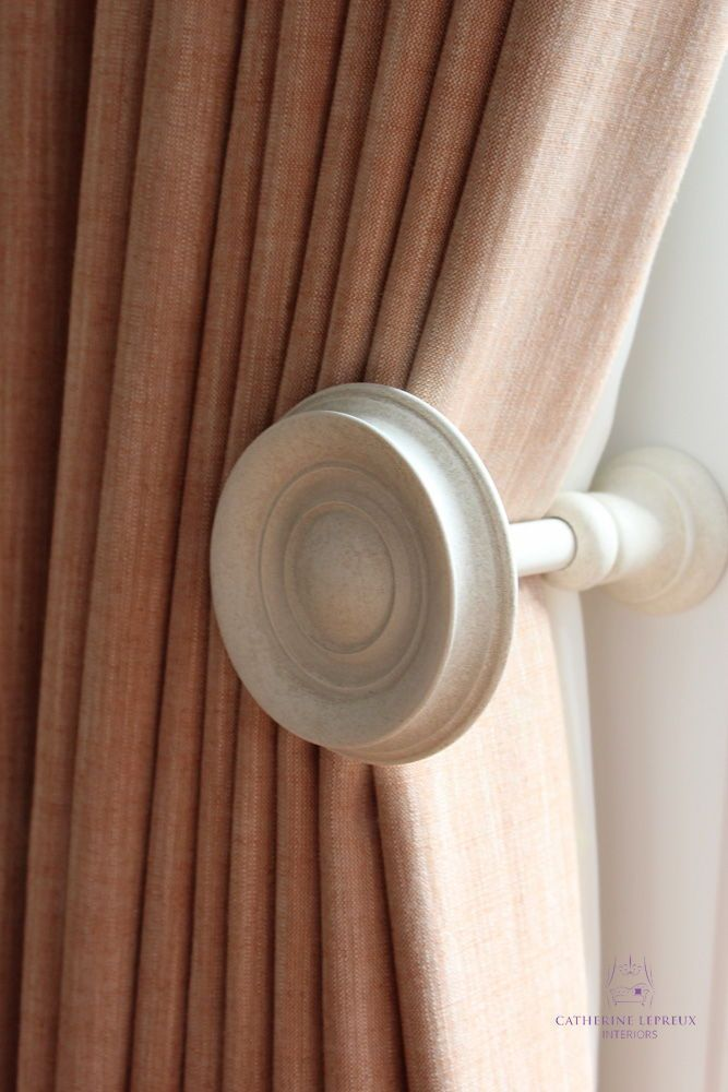 Cream Painted Wooden Curtain Holdback Holds Curtains Back From The