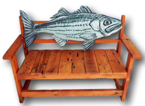 Fish Bench Striper Bench Fish Furniture Fisherman By WoodzYShop, $645.00